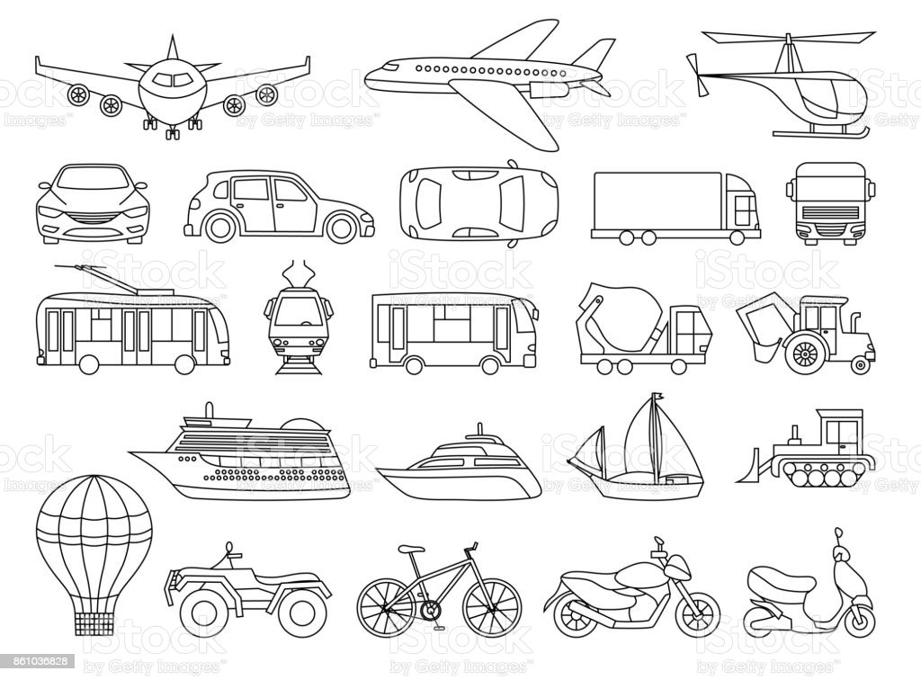 Toy Transport Set To Be Colored Coloring Book To Educate Kids Learn ...