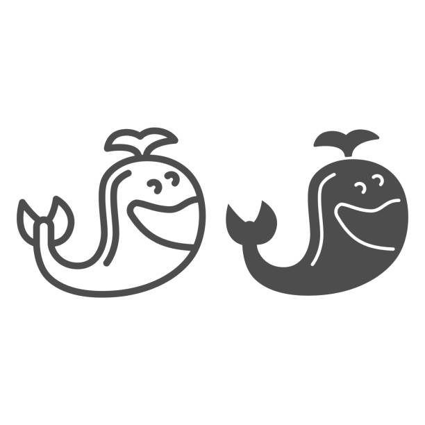 Toy whale line and solid icon, Kids toys concept, Whale animal sign on white background, cute whale toy icon in outline style for mobile concept and web design. Vector graphics. Toy whale line and solid icon, Kids toys concept, Whale animal sign on white background, cute whale toy icon in outline style for mobile concept and web design. Vector graphics giant fictional character stock illustrations