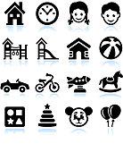 Toys and Games Black & White Icon Set