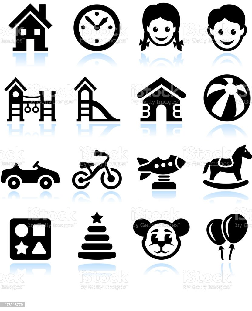 Toys and Games Black & White vector interface icon set vector art illustration
