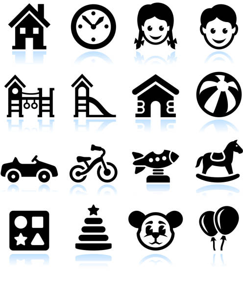 toys and games black & white vector interface icon set - recess stock illustrations, clip art, cartoons, & icons