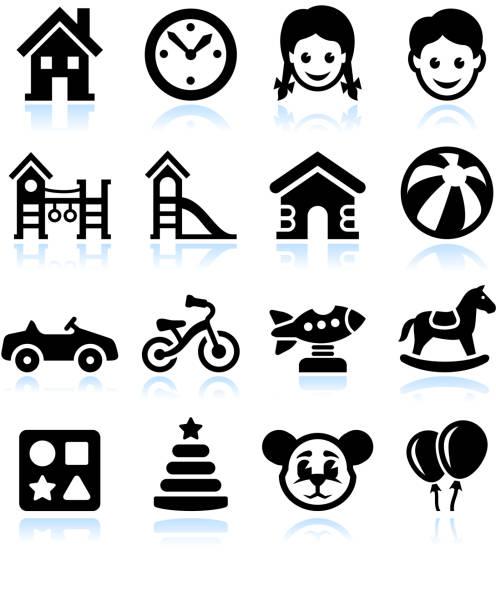 Jouets et jeux & noir blanc vecteur Ensemble d'icônes de l'interface - Illustration vectorielle