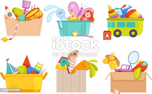 Toys box. Children toy cars rocket soccer bear gifts for kids vector packages collection