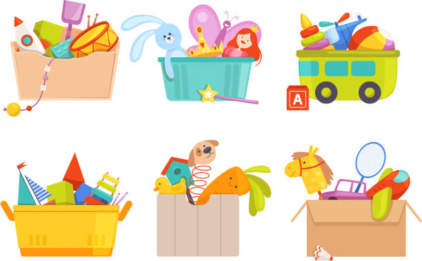 Toys box. Children toy cars rocket soccer bear gifts for kids vector packages collection Toys box. Children toy cars rocket soccer bear gifts for kids vector packages collection. Toy box with rattle and machine, airplane and teddy illustration stuffed stock illustrations