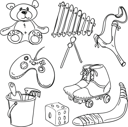 Toys collection in black and white