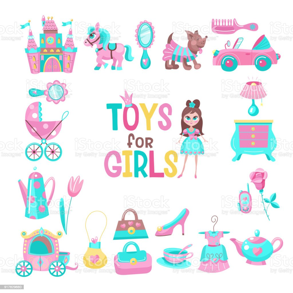 お姫様のためのおもちゃベクター クリップアートのセットです おもちゃ