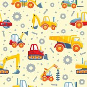 Detailed seamless background with toys heavy equipment and machinery