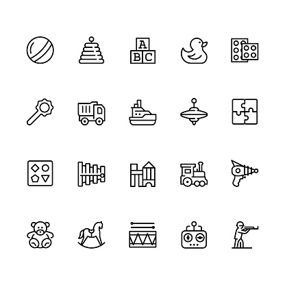 Toys icon set in outline style with editable stroke