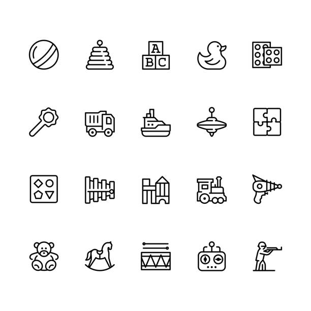 Toys icon set in outline style with editable stroke Toys icon set in outline style with editable stroke alphabet icons stock illustrations