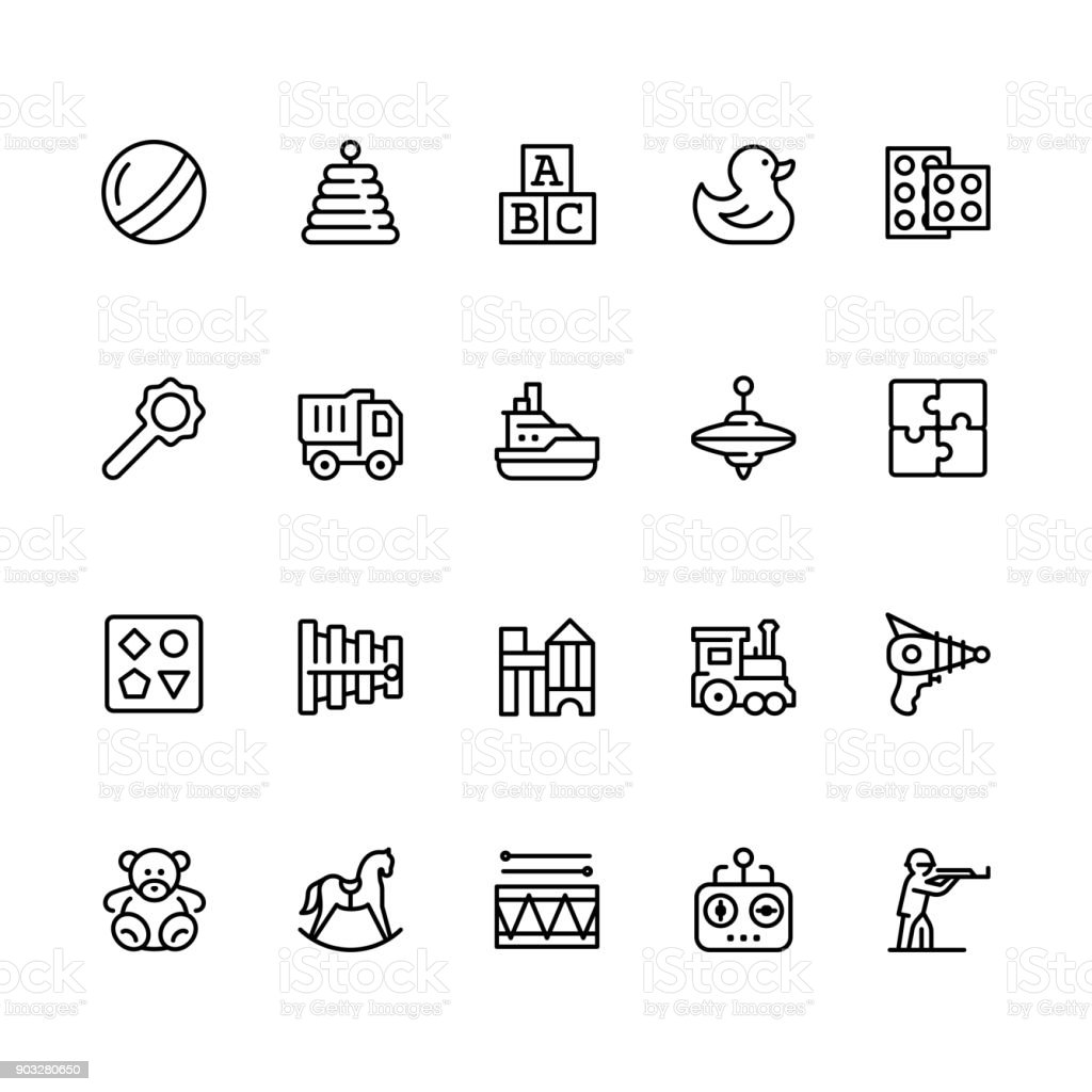 Toys icon set in outline style with editable stroke vector art illustration