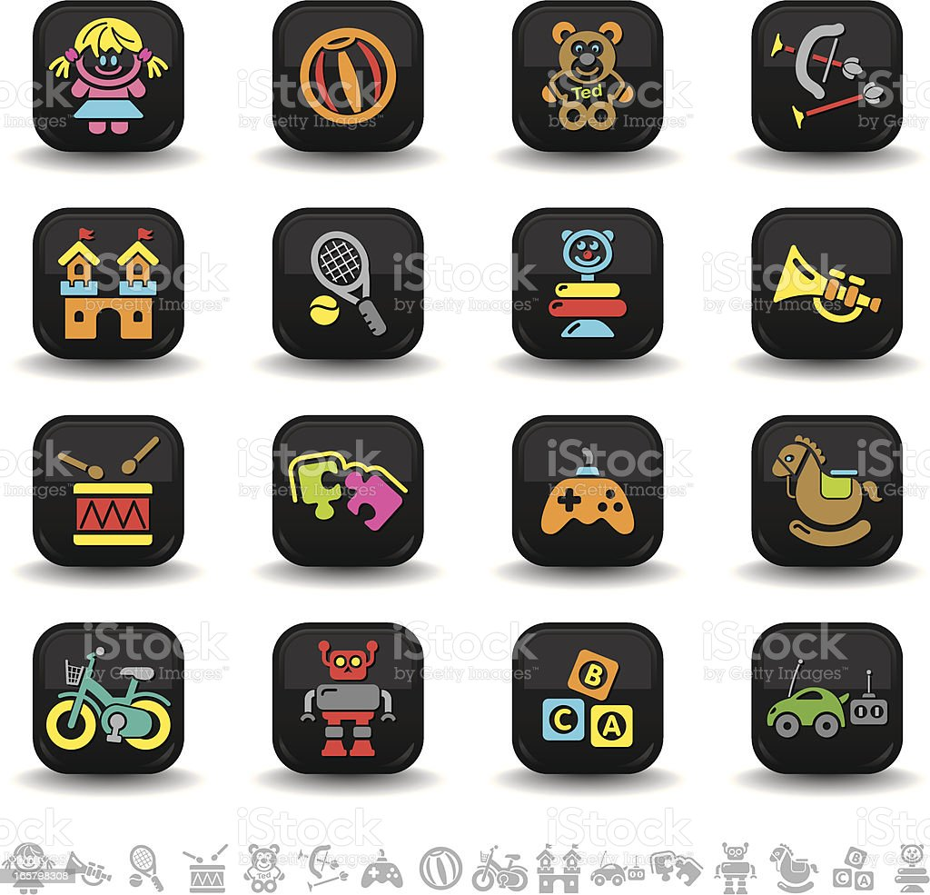 Toys icons   bbton series royalty-free stock vector art