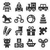 Toys Icons Set on White Background. Vector illustration