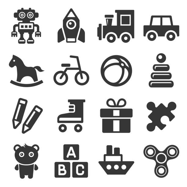 toys icons set on white background. vector - zabawka stock illustrations