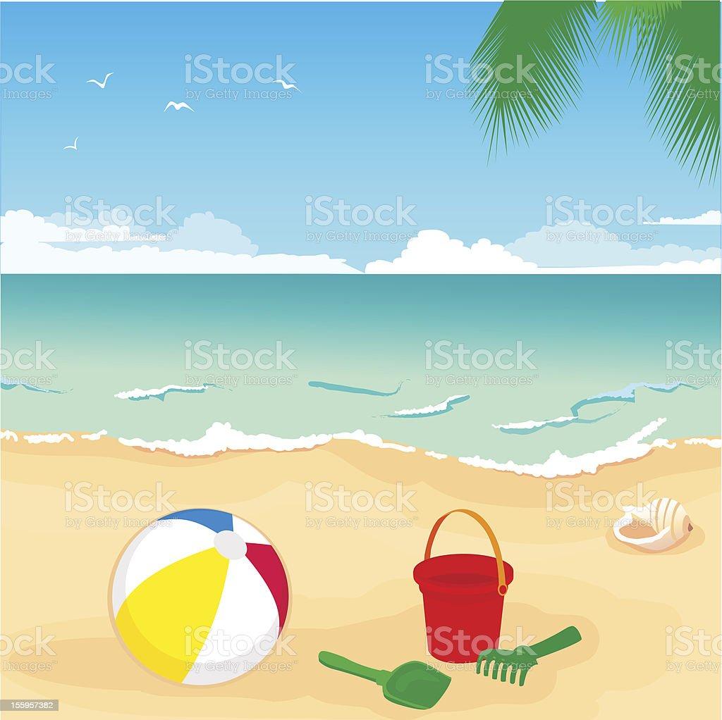 toys on sand vector art illustration