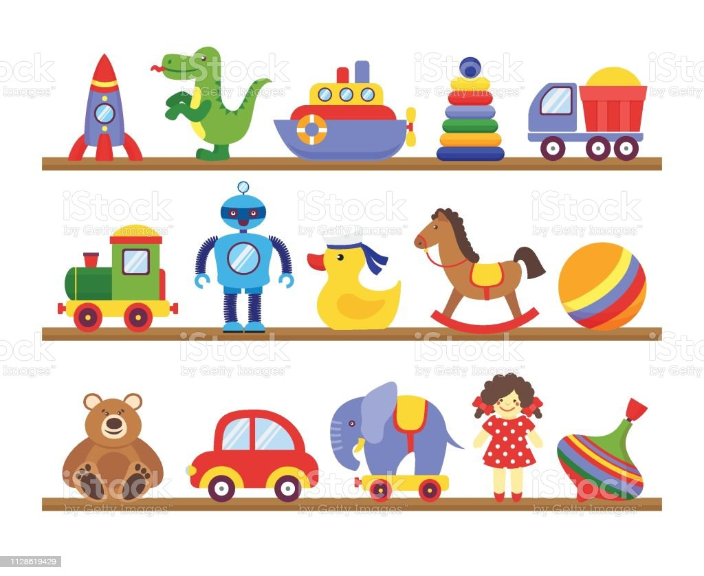 Toys On Shelves Cartoon Toy On Baby Shopping Wooden Shelf Dinosaur Robot Car Doll Isolated Vector Stock Illustration Download Image Now Istock