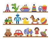 Toys on shelves. Cartoon toy on baby shopping wooden shelf. Dinosaur robot car doll isolated vector
