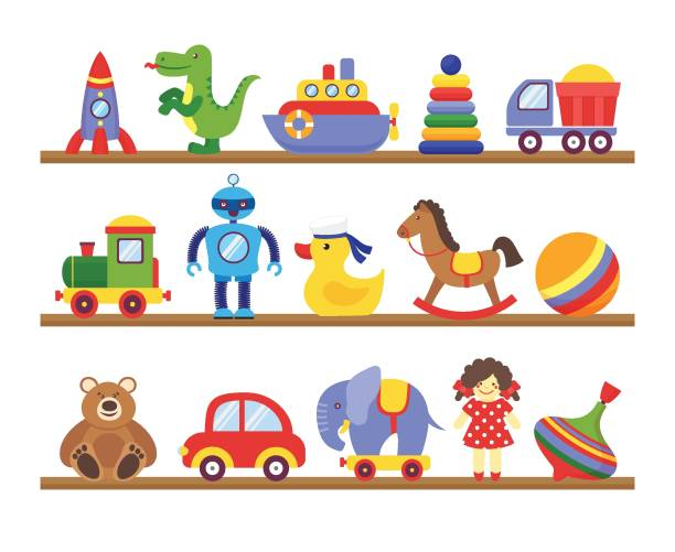 toys on shelves. cartoon toy on baby shopping wooden shelf. dinosaur robot car doll isolated vector - zabawka stock illustrations