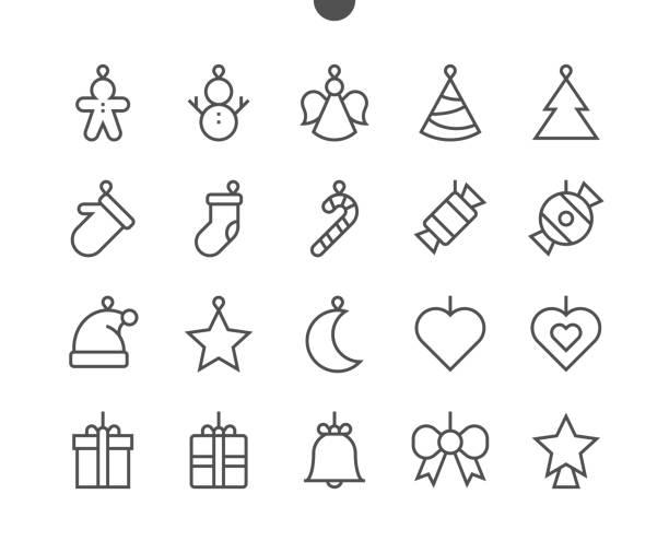 spielzeug auf den weihnachtsbaum ui pixel perfect well-crafted vektor dünne linie icons 48 x 48 für 24 x 24 raster für web-grafiken und apps mit editierbaren schlag bereit. einfach nur minimale piktogramm - swag stock-grafiken, -clipart, -cartoons und -symbole