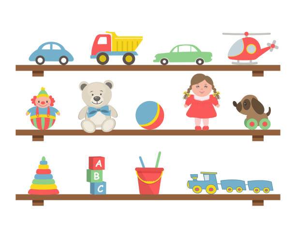 toys on the shelves. toys for little children - zabawka stock illustrations