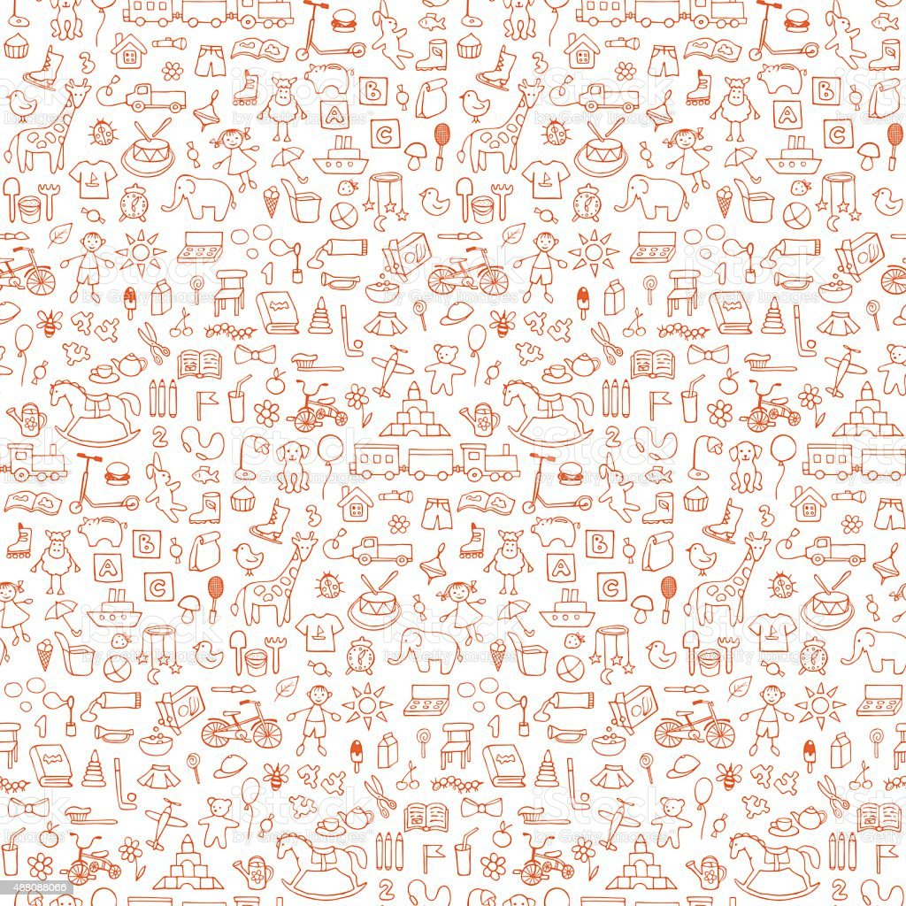 Toys seamless hand drawn doodle pattern vector art illustration