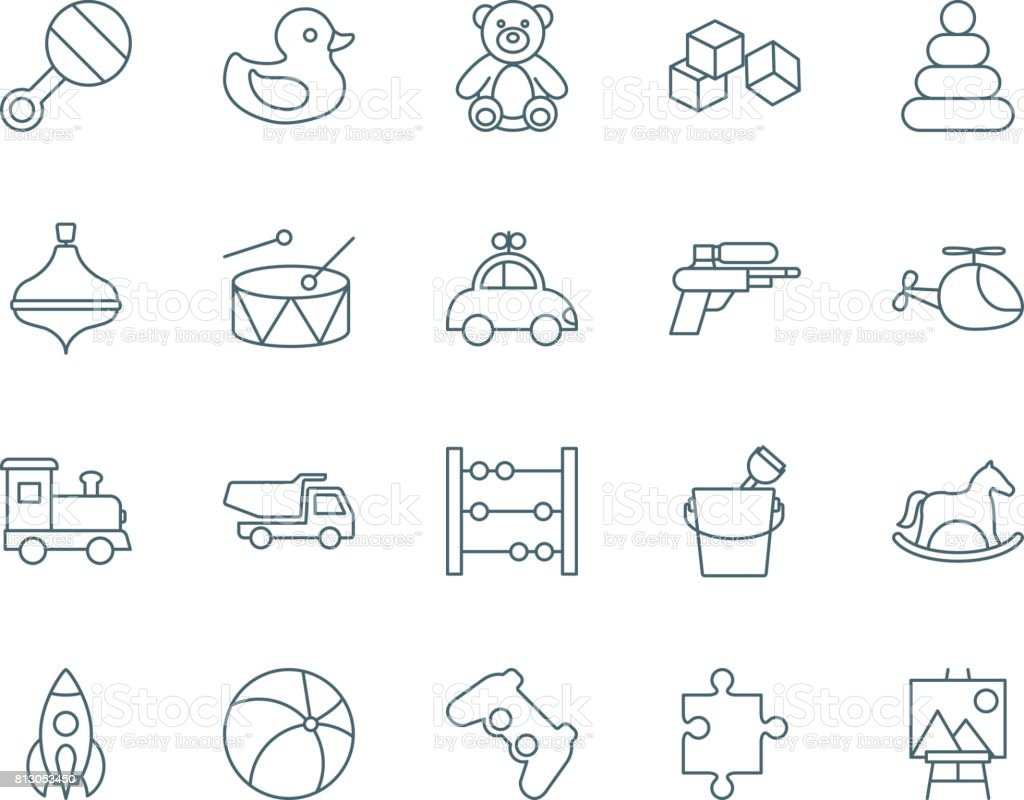 Toys set of vector icons vector art illustration