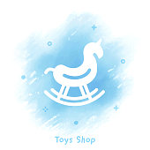 istock Toys Shop Icon Watercolor Background 993592090