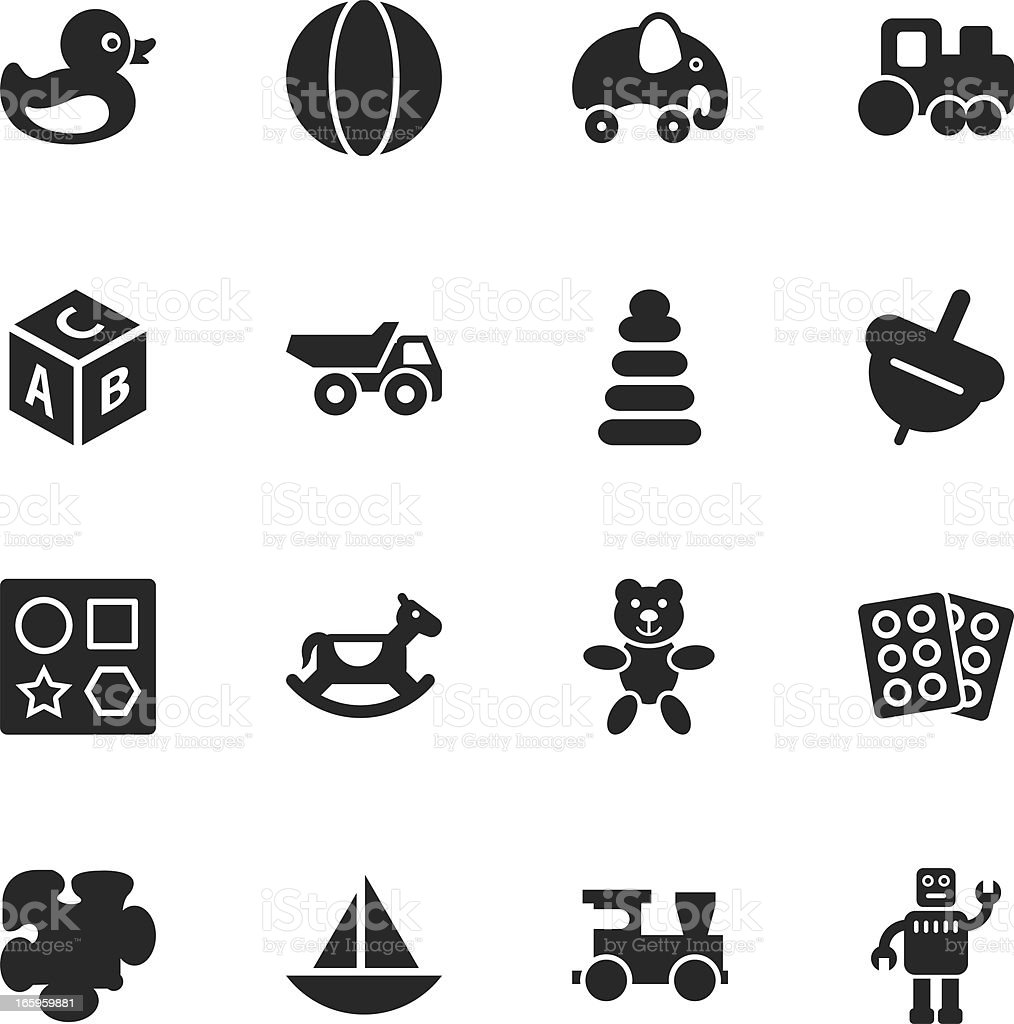 Toys Silhouette Icons vector art illustration