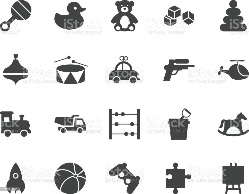 Toys Silhouettes Icons Set Stock Vector Art More Images Of Arts