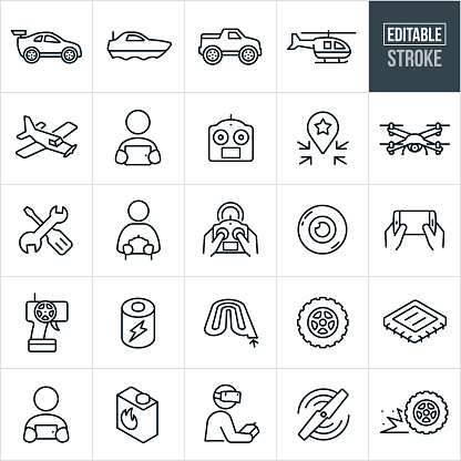A set of RC toys icons that include editable strokes or outlines using the EPS vector file. The icons include a remote control car, remote control boat, remote control truck, remote control helicopter, remote control airplane, drone, quad copter, person using a tablet pc to control an RC toy, remote control, person holding a remote control, repair tools, camera, smartphone used as a remote control, battery, race track, RC toy wheel, computer chip, fuel, rotor and other related icons.