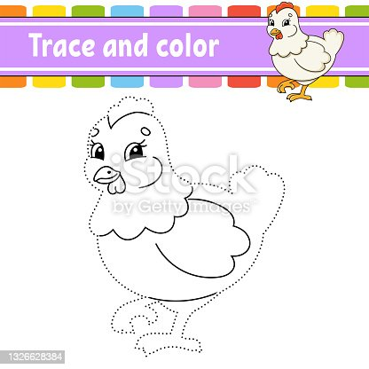 istock Trace and color. Coloring page for kids. Handwriting practice. Education developing worksheet. Activity page. Game for toddlers. Isolated vector illustration. Cartoon style. 1326628384