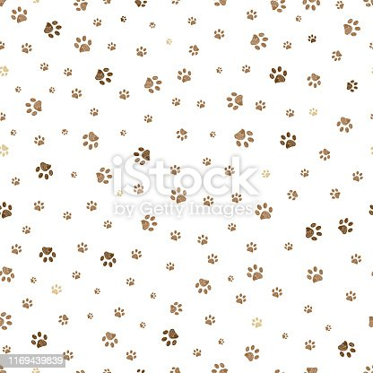 istock Trace brown doodle paw prints seamless pattern background 1169439839