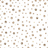 Trace brown doodle paw prints seamless pattern background