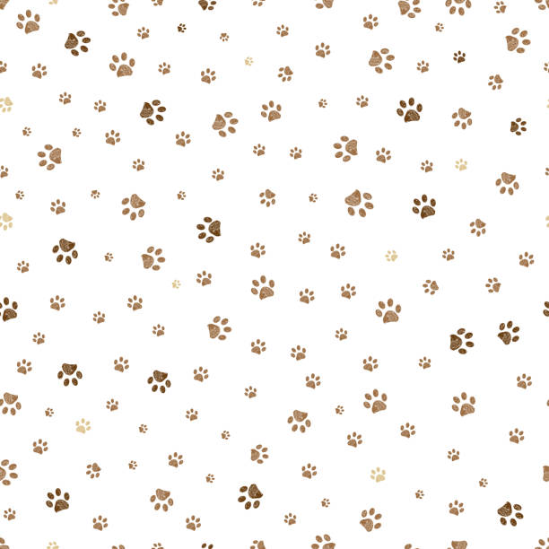 Trace brown doodle paw prints seamless pattern background Trace brown doodle paw prints seamless pattern background paw stock illustrations