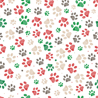 Trace doodle paw prints with stars seamless pattern background with christmas new years white background