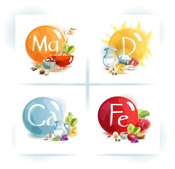 인체의 건강을 위한 미 량 원소: 마그네슘, 칼륨, 칼슘, 비타민 d - vitamin d stock illustrations