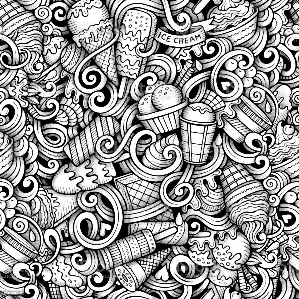 Seamless Pattern With Hand Drawn Watercolor Ice Cream: Trace Hand Drawn Ice Cream Doodles Seamless Pattern Stock