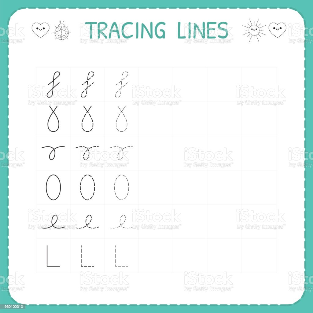 Trace Line Worksheet For Kids Preschool Or Kindergarten Worksheet ...
