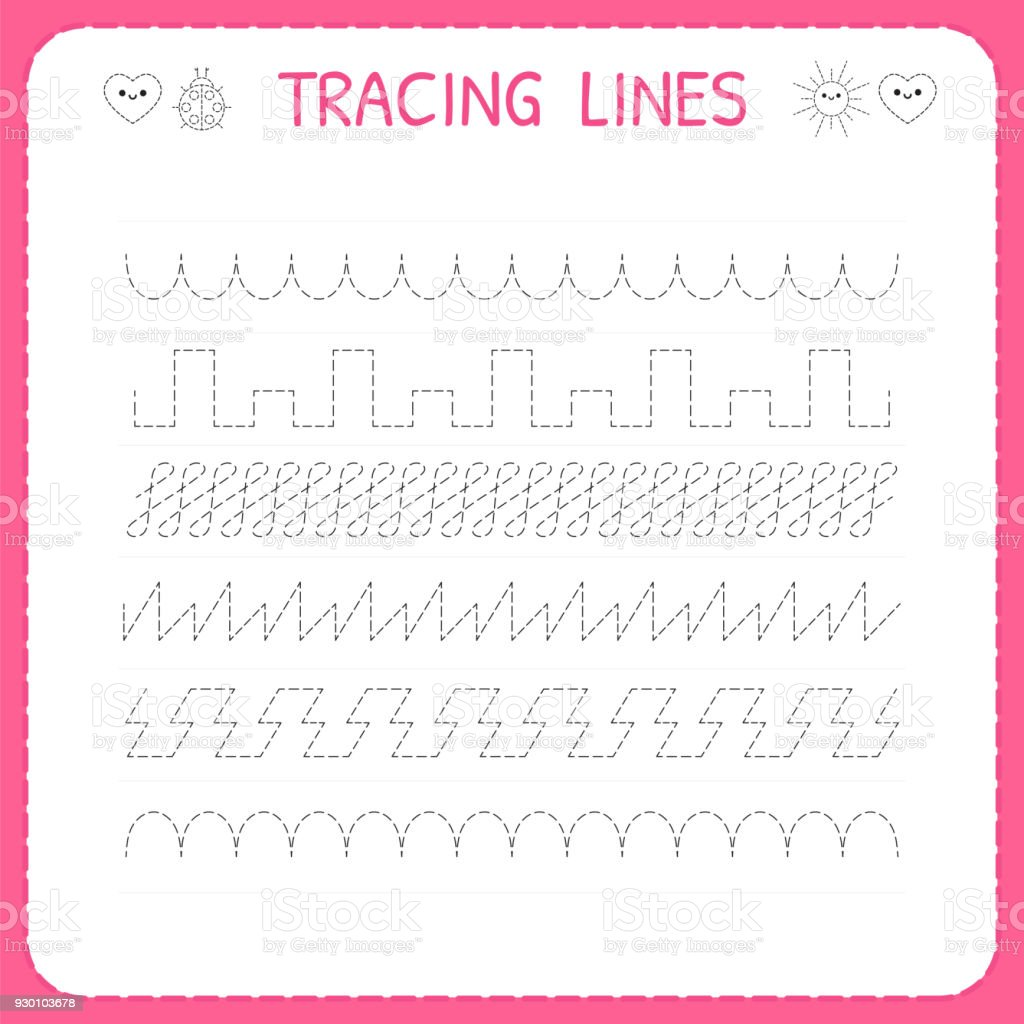 Trace Line Worksheet For Kids Trace The Pattern Working Pages For ...