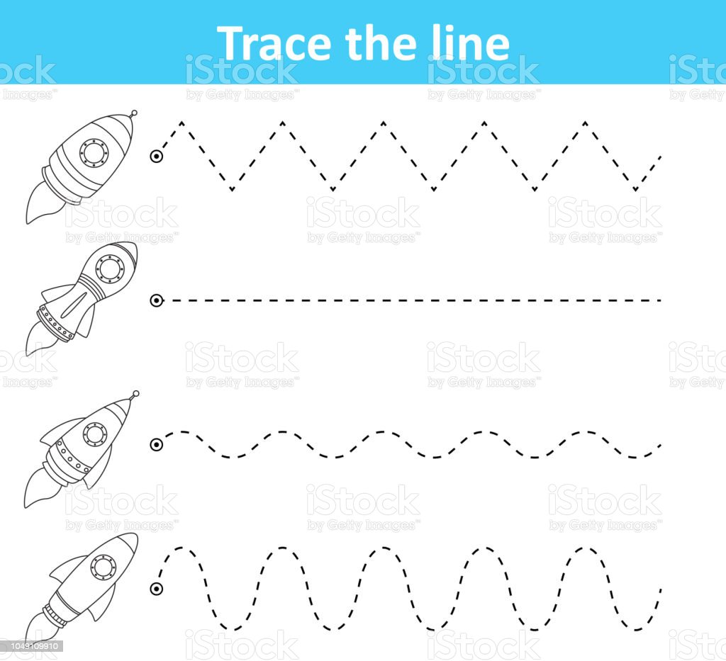 trace line worksheet for preschool kids with rockets royalty-free trace  line worksheet for preschool