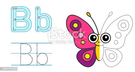 istock Trace the letter and picture and color it. Educational children tracing game. Coloring alphabet. Letter B and funny cartoon Butterfly 1324747323