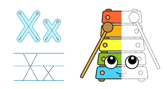 Trace the letter and picture and color it. Educational children tracing game. Coloring alphabet. Letter X and funny Xylophone