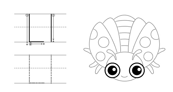 Trace the letter and picture and color it. Educational children tracing game. Coloring alphabet. Letter L and funny Ladybug