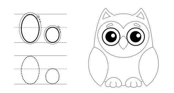Trace the letter and picture and color it. Educational children tracing game. Coloring alphabet. Letter O and funny Owl