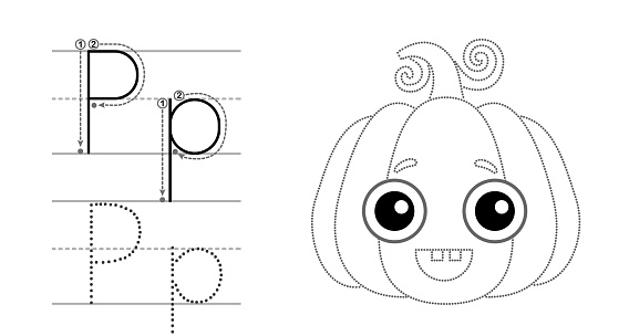 Trace the letter and picture and color it. Educational children tracing game. Coloring alphabet. Letter P and funny Pumpkin