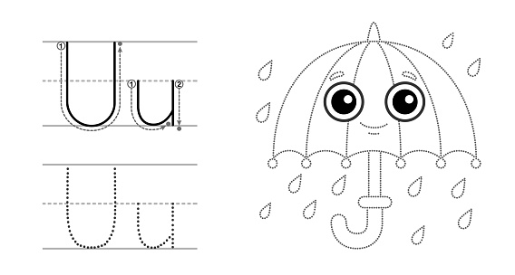 Trace the letter and picture and color it. Educational children tracing game. Coloring alphabet. Letter U and funny umbrella