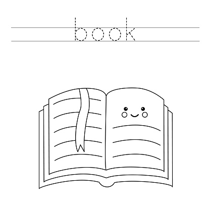 Trace the letters and color cute kawaii book. Handwriting practice for kids.