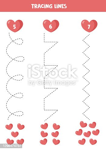 istock Trace the lines and count the number of hearts. 1296474757