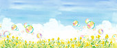 Trace vector of blue sky and rape field and soap bubble, watercolor illustration