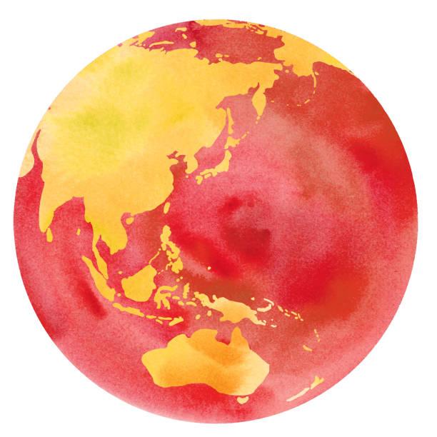 地球温暖化の水彩画の微量ベクトル(日本、アジア、オーストラリア、中国、インドネシア、太平洋) - 環境問題点のイラスト素材/クリップアート素材/マンガ素材/アイコン素材