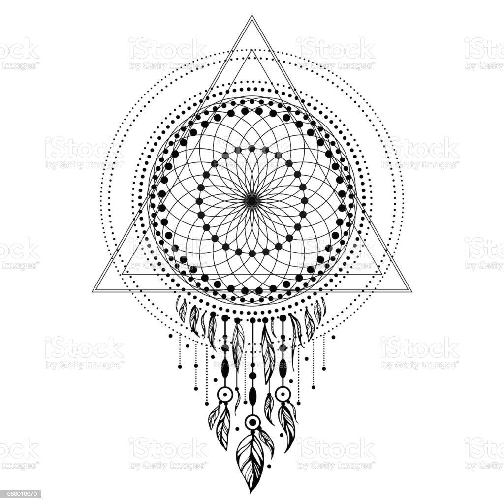entrelacs géométrie sacrée avec des plumes sur fond blanc. - Illustration vectorielle